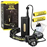 NITECORE HC70 1000 Lumen CREE LED Headlamp with detached Battery Case, 2 X 3400mAh batteries with EdisonBright USB Charging Cable