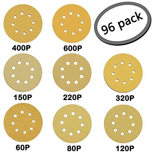 8 Holes Glod Round Detail Sander Sandpaper Sanding Paper Dustless Hook and Loop Assorted 60/80/ 120/150/ 220/320/ 400/600 Grits ()