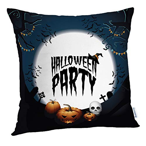 (Batmerry Halloween Pillow Covers 18x18 inch,Halloween Party Banner Invitation Advertisement Art Autumn Cemetery Throw Pillows Covers Sofa Cushion Cover)