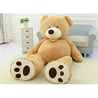 "78""(6.5 Feet) Giant Teddy Bear Cover Light Brown ( Semi-Finished, No Filler Cotton, Only Outer Shell with Zipper ) 200cm by Fengheshun"