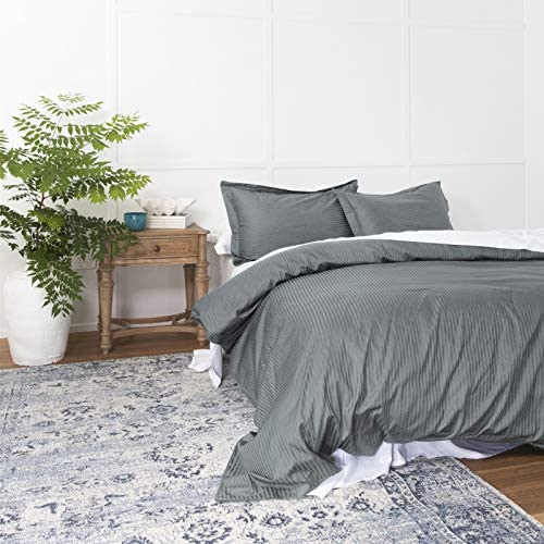 Duvet Cover Dark Grey Queen, Classic Damask Pinstripe Pattern, 100% Long Staple Cotton 400TC with Silky & Luxury Sateen Woven, Cool & Breathable, Luxury Royal Hotel Style Clean Look Duvet Cover Set
