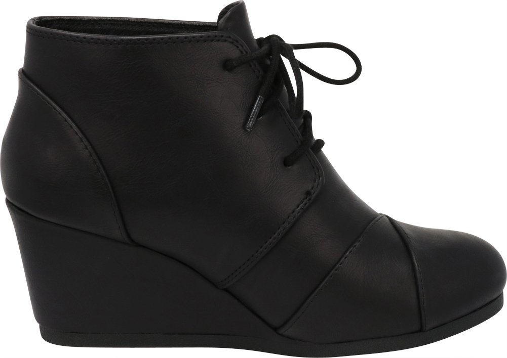 Cambridge Select Women's Lace up Wedge Heel Ankle Bootie (9 B(M) US, Black PU) by Cambridge Select (Image #6)