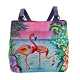 Anuschka Handpaint LR Twin Top Tote-8250-Trf, Trf-Tropical Flamingo