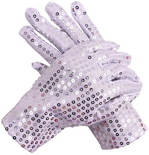 1Pair Adults Glitter Glove Halloween Costume Sequin Glove Silver White Michael Jackson Sparkly (Michael Jackson Glove Halloween)