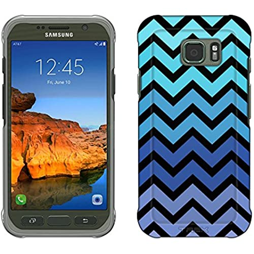 Samsung Galaxy S7 Active Case, Snap On Cover by Trek Chevron Teal Blue Black Slim Case Sales