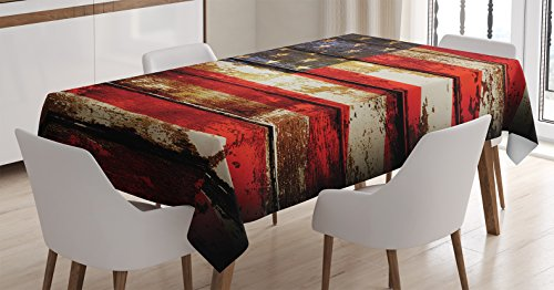 Ambesonne American Flag Tablecloth, Us Over Old Rusty Tones Weathered Vintage Social Plank Artwork, Dining Room Kitchen Rectangular Table Cover, 60″ X 84″, Red Blue
