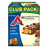 Atkins Snack Caramel Chocolate Nut Roll Pack (19 + 1 Bonus Bar) (pack of 6)