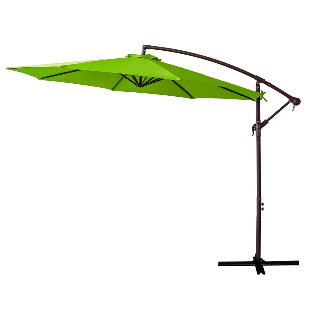 FLAME/&SHADE 10 Offset Cantilever Hanging Patio Umbrella Large Market Style for Outdoor Balcony Table or Large Garden Terrace Beige