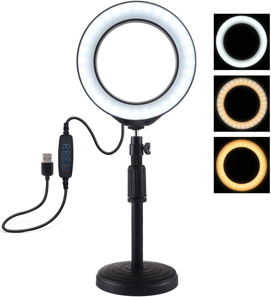 18cm-28cm 6.2 inch 3 Modes USB Dimmable LED Ring Vlogging Video Light Adjustable Height Camera Tripods JA Round Base Desktop Mount