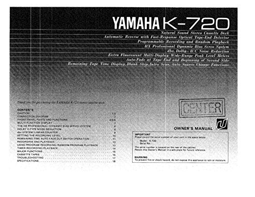 Yamaha K-720 Cassette Deck Owners Instruction Manual for sale  Delivered anywhere in USA