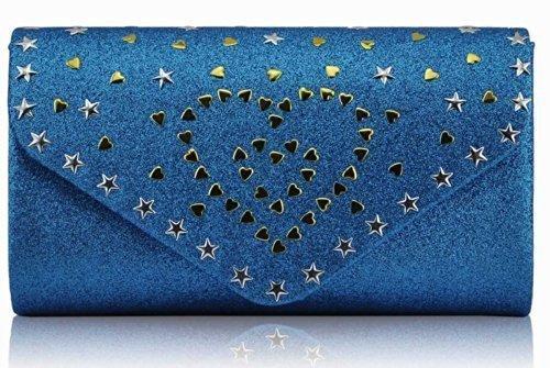 TrendStar Damen Abend Party Glitter Metall Sterne Herzen Unterarmtasche Teal 4P06MW