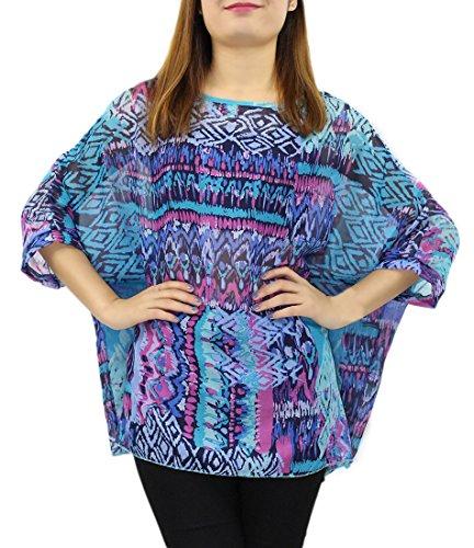 Camiseta Mujer Manga 3/4 Blusas de Verano Boho Flores Tunicas Top Playa Pareo Bikini Cover up �?Landove patrón 11
