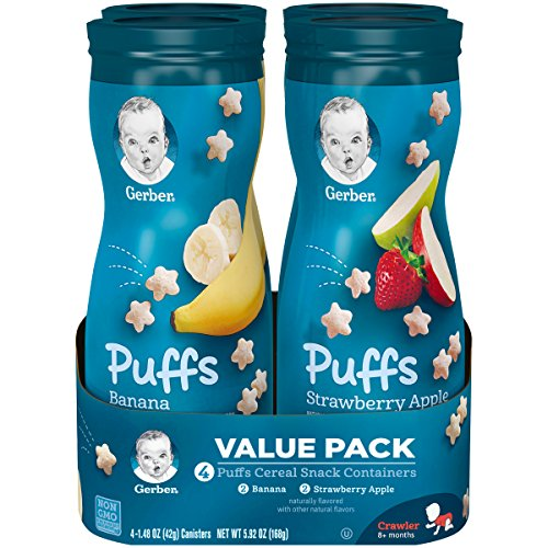Gerber Graduates Puffs, Banana and Strawberry Apple, 1.48 Ounce, 4 Count - Banana Puffs
