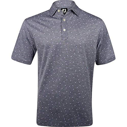 (FootJoy Men's Stretch Pique Flower Print Golf Polo (S, Heather Navy))