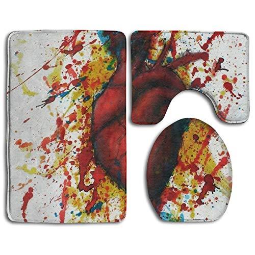 YGUII Bathroom Rug Mats Set 3 Piece, Anatomy Heart Abstract Print Non-Slip Bath Rugs + Toilet Seat Cover + Contour Mat