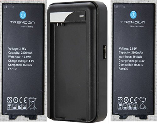 best sneakers a451b c71d8 LG G5 Battery: TrendON LG G5 Battery kit [2 Batteries + Charger] 2 X 2800  mAh Spare Replacement Li-ion Battery Combo with Portable USB Travel Wall ...