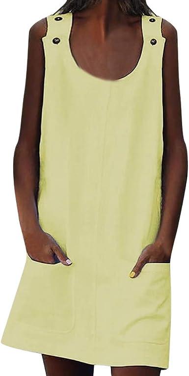 JiaMeng Mujer Vestidos Largos Casual Vestidos de Cuello Redondo Shift Daily Button Vestidos de algodón Liso Vestido de Mujer Verano Flojo Vestido Mujer Sin Manga Color sólido Cuello Redondo: Amazon.es: Ropa y