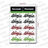 Kungfu Graphics Kawasaki Ninja Sponsor Logo Racing Sticker Sheet Universal (7.2 x 10.2 inch),Green, Red