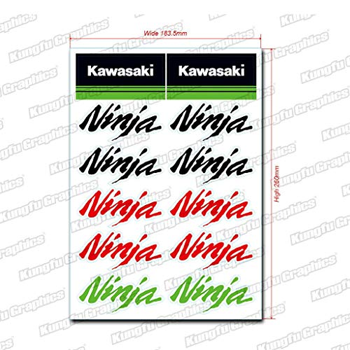 - Kungfu Graphics Kawasaki Ninja Sponsor Logo Racing Sticker Sheet Universal (7.2 x 10.2 inch),Green, Red