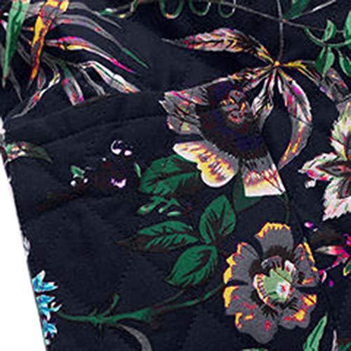Cardigan Poche Bouton Floral Veste Longues Rétro Blouson Épaissir Imprimé Chaud Hoodie Thermiques Outwear Manteau Hooded National Style Zip 5 Hiver Piebo Mode Long Femme Coton Lâche Grande Noir Manche Taille T1wqE