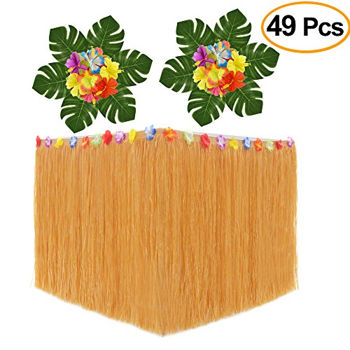 KUUQA Luau Hawaiian Grass Table Skirt and 48 Pcs Artificial Tropical Palm Monstera Leaves Hibiscus Flowers for Aloha Tiki Jungle Moana Theme Tropical Birthday Party Decorations Ideas (Themes For Parties Ideas)