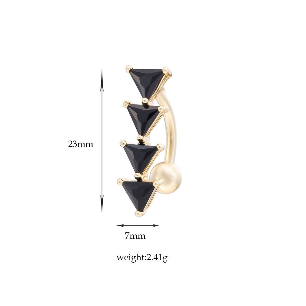 HJLjarily 6Pcs Dangle Belly Button Rings Set for Women Girls Navel Rings CZ Body Piercing Surgical Steel 14G