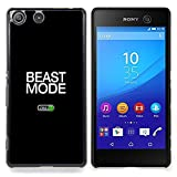 - Beast Mode Exercise Rogan Black Text - Slim Guard Armor Phone Case- For Sony Xperia M5 Devil Case