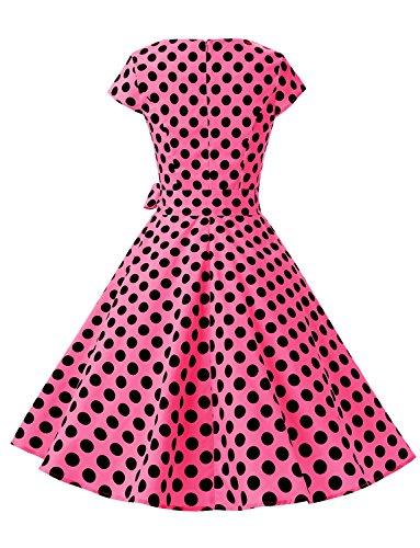 Rockabilly Mujer 50s 60s Dot Black Corta Elegante Rose Dressystar Vintage Vestidos B Manga Corto Coctel nOIxvgxq8