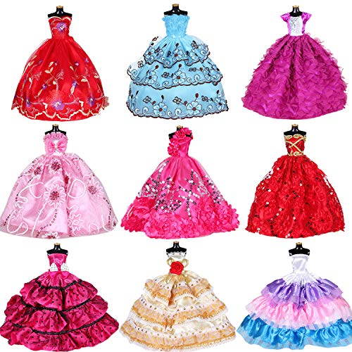 Fashion Dolls Clothes Dresses for Barbie Girl Dolls 10 Pcs - Handmade Clothes for 11.5 Inch Girls Doll Wedding Party Dresses Gown Outfit Costume Suit Kids Xmas Birthday Present Random ()