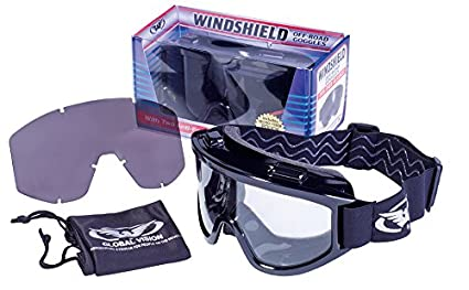 4038fc5dde3d Image Unavailable. Image not available for. Color  Windshield Goggle Kit  Smoke Clear Lenses Over-Prescription Glasses