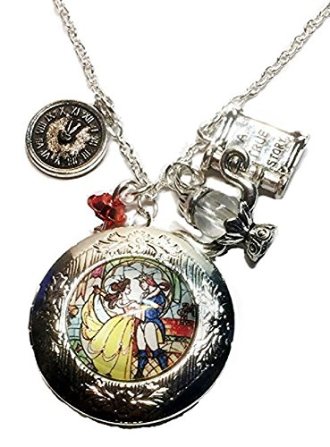 Beauty and The Beast Glass Domed Pendant Locket Necklace W/Charms