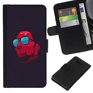EJOY---La carpeta del tirón la caja de cuero de alta calidad de la PU Caso protector / Samsung ALPHA G850 / --Gafas rojas refrescan Satanás Oscuro
