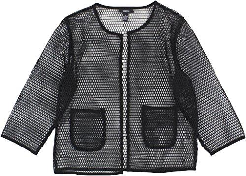 (Alfani Women's Open-Front Mesh Jacket Medium Deep Black )