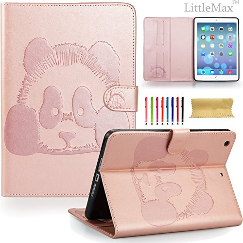 iPad Mini 1/2/3 Case-LittleMax Embossed PU Leather Case [Magnet Closure] Stand Flip Wallet Case with [Cards Holder] for Apple iPad Mini 3 2 1 [Free Cleaning Cloth,Stylus]-01 Panda Pink