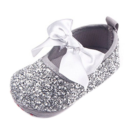 Newborn Baby Girl Bow Diamonds Bling Mary Jane Toddler Prewalker Shoes Silver 6-12 Months -