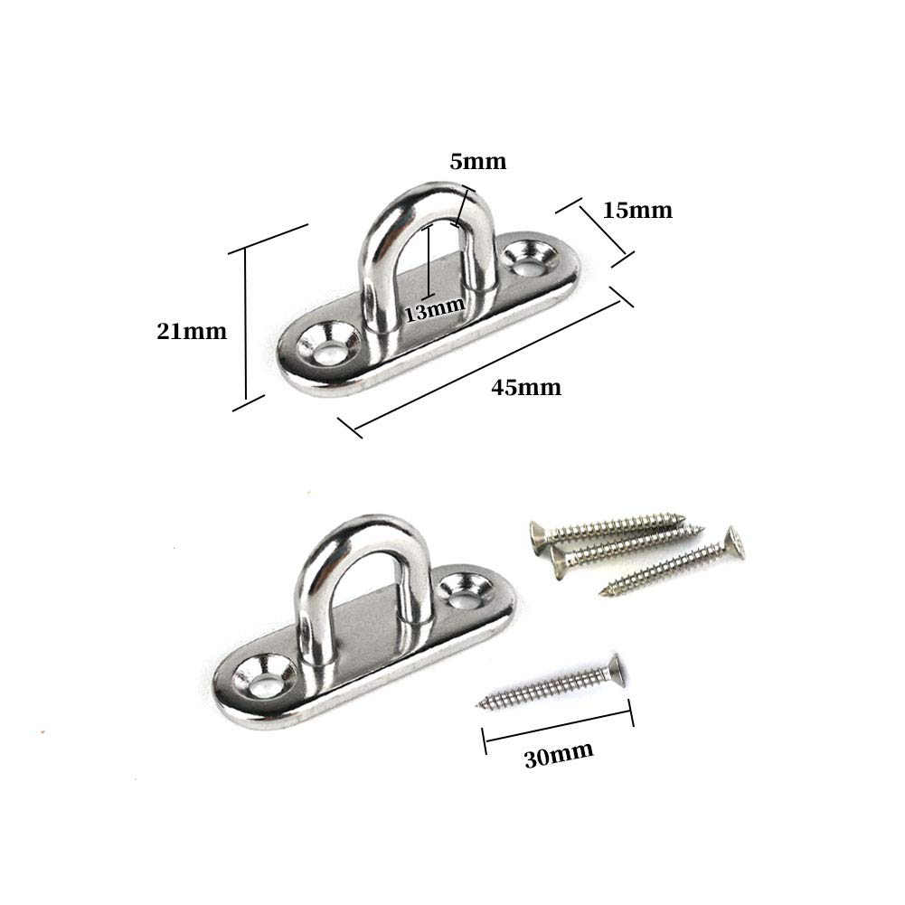 2Pcs M5 304 Stainless Steel Oblong Pad Eye with 2Pcs Stainless Steel Snap Hook and 2Pcs Double Eye Chain Swivels Hook for Boat Application Hardware Hook Loop Wall Mount Hanging Hardware Fitting