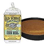 Authentic Old School Brand Stone Ground, Self-Rising, White Cornmeal (2 Pound Bag) - Made with NON-GMO Select North Carolina White Corn