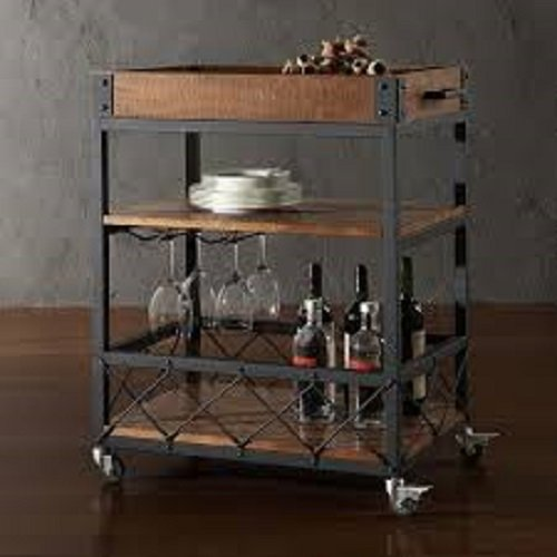 TRIBECCA HOME Myra Rustic Mobile Kitchen Bar Serving Cart by Bar Serving Cart