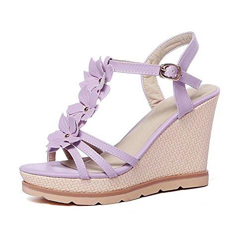 AmoonyFashion Womens Open Toe Buckle PU Solid High Heels Sandals Purple VUDrLiP