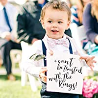 I Can't Be Trusted With The Rings Sign for Ring Bearer | Funny Wedding Banner for Ringbearer or Page Boy | Young Toddler in Wedding | Ceremony Signage | Black Ink Champagne Ribbon