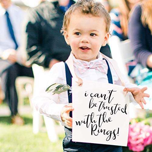 I Can't Be Trusted With The Rings Sign for Ring Bearer | Funny Wedding Banner for Ringbearer or Page Boy | Young Toddler in Wedding | Ceremony Signage | Black Ink Champagne Ribbon]()