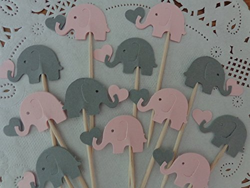 Light Pink and Grey Elephants holding Hearts Cupcake Toppers – Elephant and Hearts Food Picks – Gray and Pink Elephant Party – Baby Girl Shower Appeti…