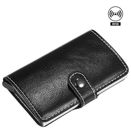 Black with Leather Case Men Metal Aluminum Slim Cash Credit Card Holder Wallet Anti-RFID Anti-NFC Money Clip