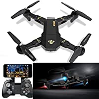 Leewa@ Visuo XS809HW Wifi FPV Foldable RC Quadcopter, 2.4G 4CH 6 Axis Altitude Hold Function Remote Control Drone with 720P HD 2MP Camera Drone RC Toy Drone -Black