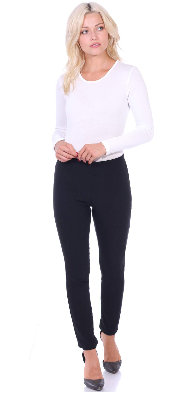Popana Womens Stretch Pull On Dress Pants Ankle Length Work Casual - Made in USA Small Black