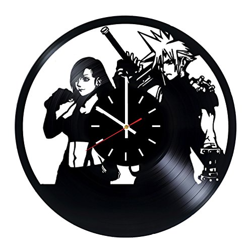Final Fantasy XV Vinyl Record Wall Clock - Bedroom or Playroom Wall Decor - Gift Ideas for Teens, Siblings, Boys - Media Franchise Unique Art Design (Best Selling Anime Franchises)