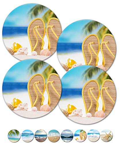 Coasters, Beach Coasters, Stone Coasters, Ceramic, Coasters Set, Modern Coasters, Outdoor Coasters for Drinks, Table Coasters, Cup Mat, Set of 4 No Holder (Flip Flops Sandals 02105)