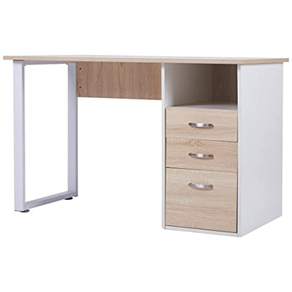Merax 47x24 Inch Simple Design Computer Desk With Cabinet And Drawers, Oak  And White