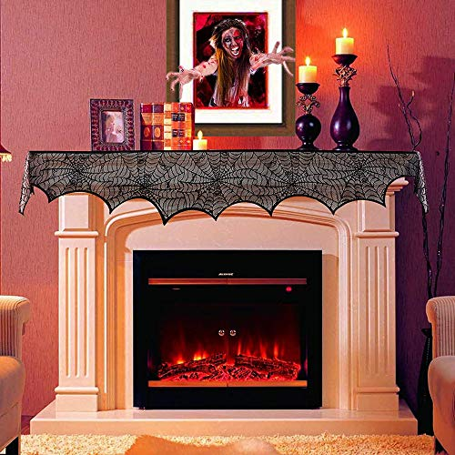 HQQNUO Halloween Decorations Black Lace Spiderweb Fireplace Mantle 18 x 96 inch Scarf Cover Festive Party Supplies for Halloween Christmas Party Door Window Decoration Black -