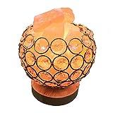 Himalayan Salt Lamp Pink Salt Chunks - Natural Crystal Sea Salt Rock Air Purifier Brightness Dimmable Control and 2 Bulbs (Golden)